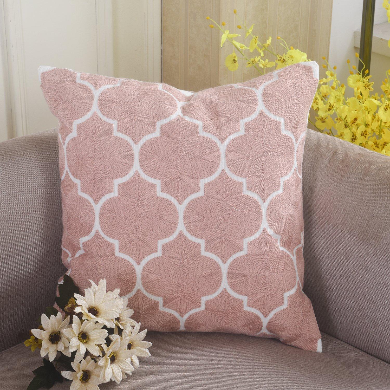 baumwolle Chain 45,7 x 45,7 cm Home Brilliant Stickerei Kissenbezug Werfen Kissen Pink