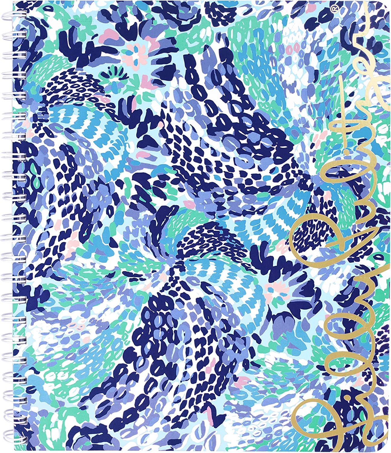 """Lilly Pulitzer Blue Large Hardcover Spiral Notebook, 11"""" x 9.5"""" with 160 College Ruled Pages, Wave After Wave"""