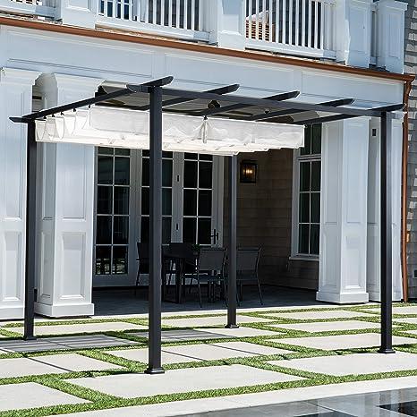 Hanover Pérgola de Aluminio y Acero con toldo Ajustable, Gris D x 9.8 pies W x 7.6 pies H, Muebles de Exterior REEDPERG-Gry, Color Blanco: Amazon.es: Jardín