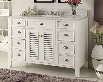 Kalani 50 Inch White Bathroom Vanity (Carrara Top): Includes Self Closing  Doors