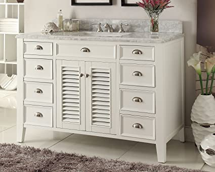 Kalani 60 Inch White Bathroom Vanity (Carrara Top): Includes Self Closing  Door