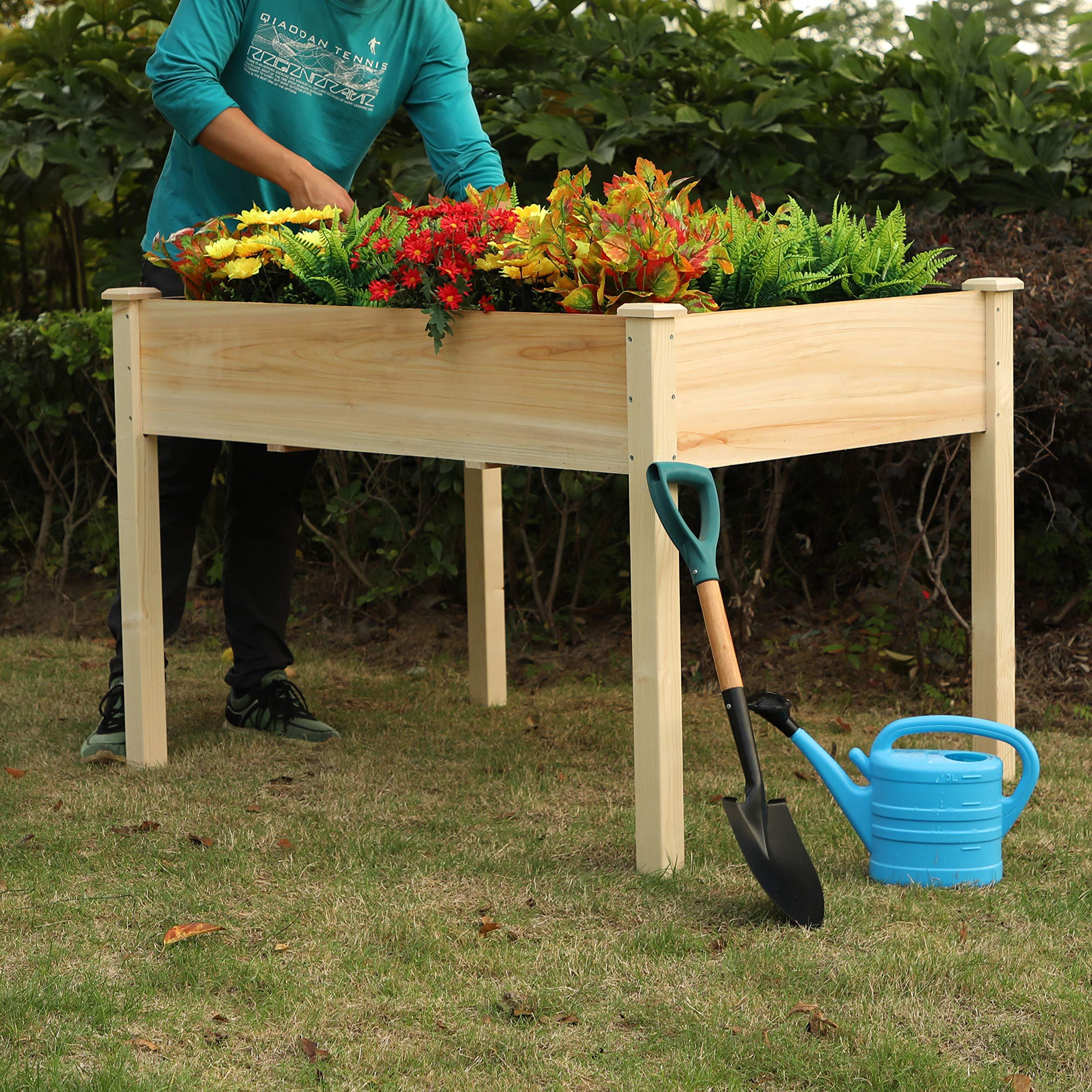 PHI VILLA Raised Garden Bed Elevated Planter Box for Vegetable/Flower/Fruit/Herb (50.4''x31''x26.8'')