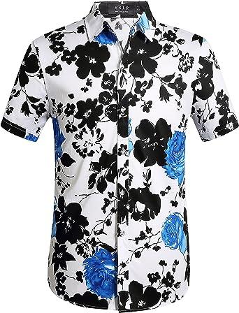 SSLR Camisa de Manga Corta con Estampado de Flores Estilo Hawaiano Moderno de Hombre: Amazon.es: Ropa y accesorios