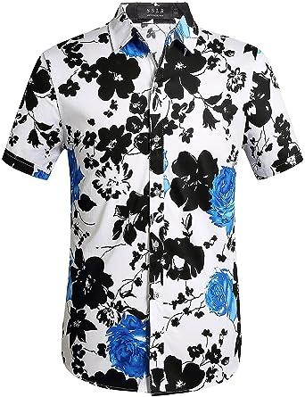 f77b129c69a1b SSLR Camisa Hawaiiana Hombre Manga Corta Casual Tropical  Amazon.es  Ropa y  accesorios