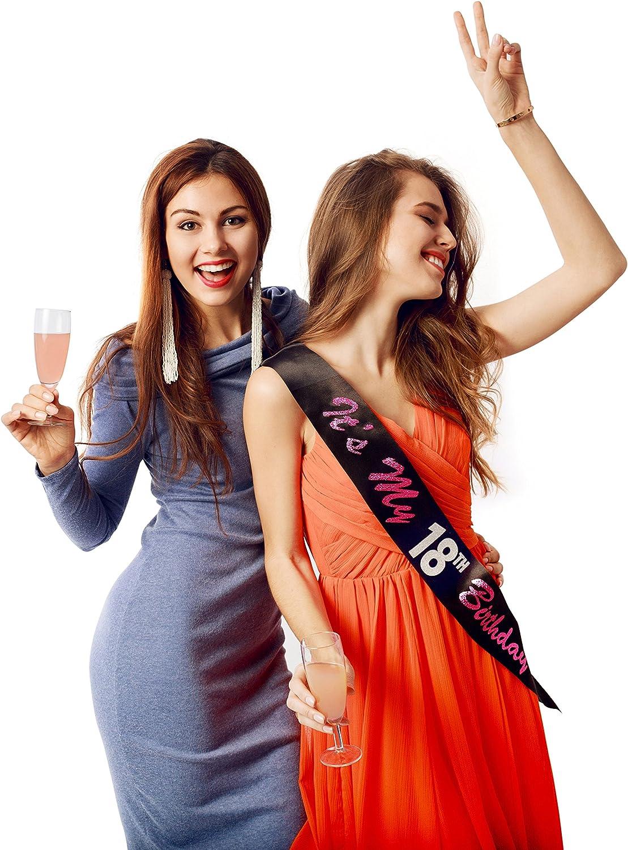 Diad/ème 18 ans anniversaire femme Couronne 18 ans anniversaire paillet/é noir Its My 18th Birthday Sash pour f/êtes danniversaire g/âteaux