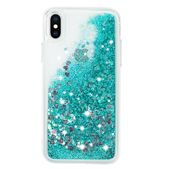 "buy popular 6746e 0bb88 iPhone X case, iPhone 10 case quicksand glitter bling TPU case, flowing  liquid sparkle case for iPhone X 5.8"" (Turquoise)"