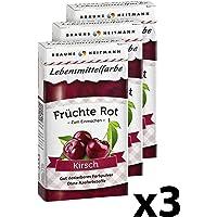 Brauns-Heitmann Früchte-Rot Kirschen Lebensmittelfarbe 2103, 3er Pack: Farbpulver zum appetitlichen Einfärben von Kirschen - für eine genussvolle Präsentation eingeweckter Lebensmittel, frei von AZO-Farbstoffen