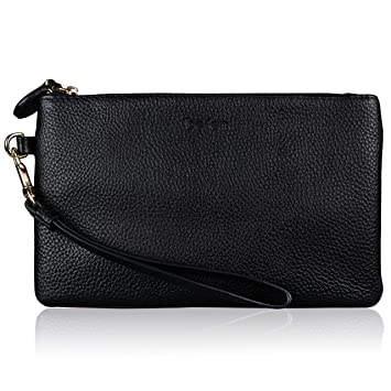 Befen Women Genuine Leather Minimalist Wallet Purse Clutch Wristlet for iPhone 8/7/6s/6 plus, Samsung Note 5/4 -Black: Amazon.es: Equipaje