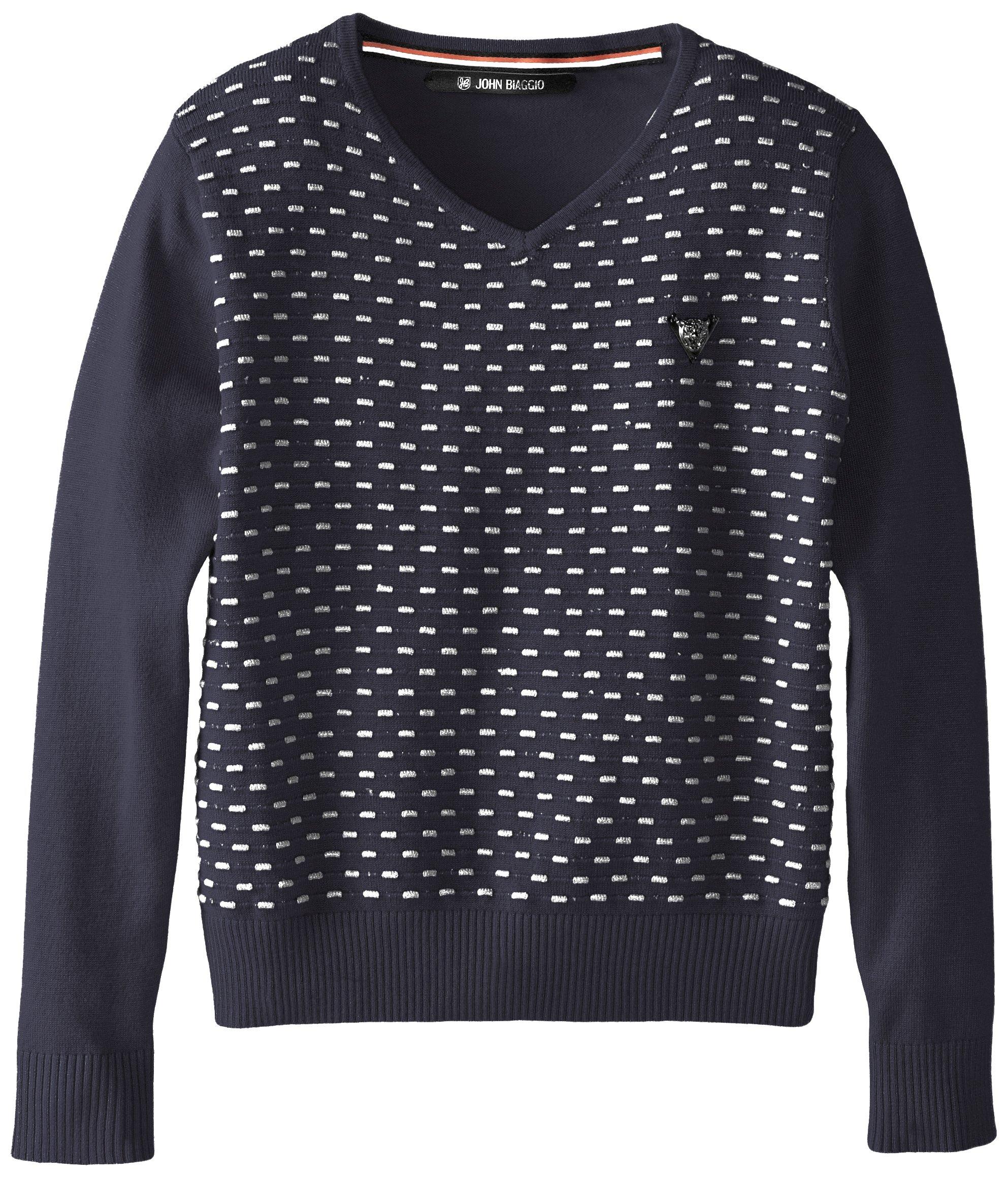 John Biaggio Little Boys V-Neck Parker Sweater, Navy, 6/7