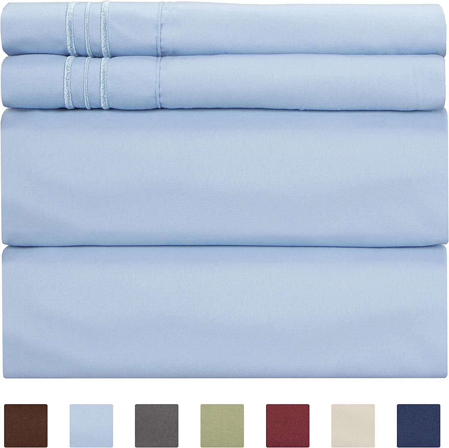 California King Size Sheet Set – 4 Piece - Hotel Luxury Bed - Extra Soft - Deep Pockets - Breathable & Cooling - Wrinkle Free - Comfy – Light Blue Bed Sheets - Cali Kings Sheets Baby Blue PC