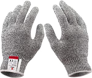 2 Pairs Cut Resistant Gloves Food Grade, Level 5 Protection of Cut Resistance, Safety Gloves for Women and Wen, for Oyster Shucking, Fish Fillet Processing, Mandolin Slicing and Wood Carving, Gray