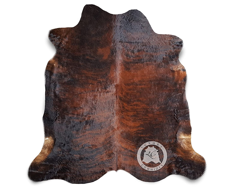 Sunshine Cowhides Teppich aus Kuhfell, Farbe  Rotes Dunkel Brindle, Größe Circa 220 x 200 cm DB1, Premium - Qualität von Pieles del Sol aus Spanien