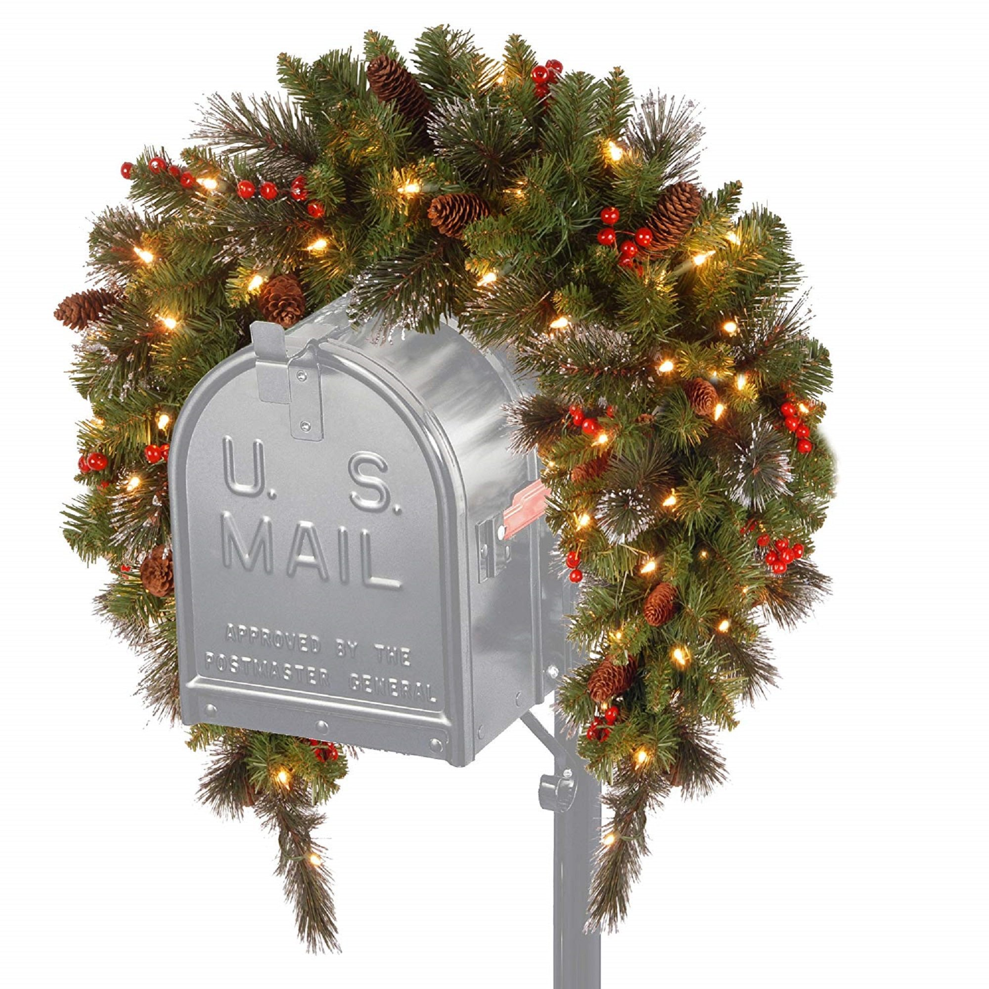 CC Christmas Decor 36'' Crestwood Spruce Mailbox Cover with Silver Bristle - Warm White LED Lights Battery Operated