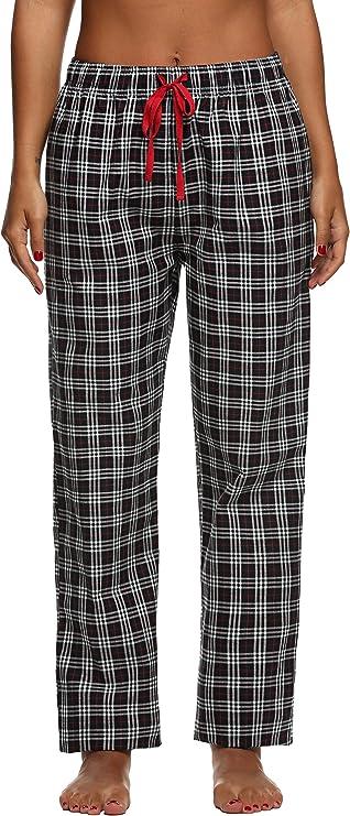 Ekouaer Womens Comfort Pants Pjs Bottoms Elastic Waist with Tie Cord (Black, XS)