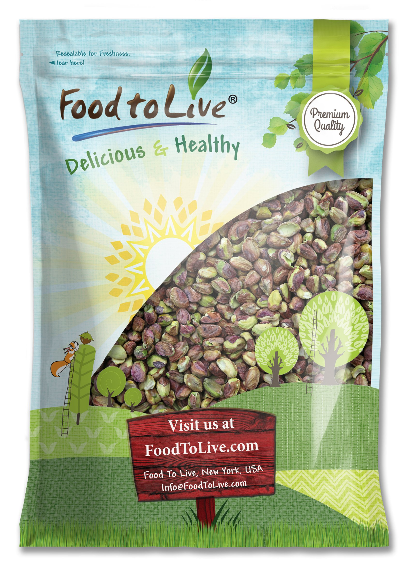 No Shell Pistachios, 6 Pounds - Raw, Unsalted, Kernels, Bulk by Food to Live
