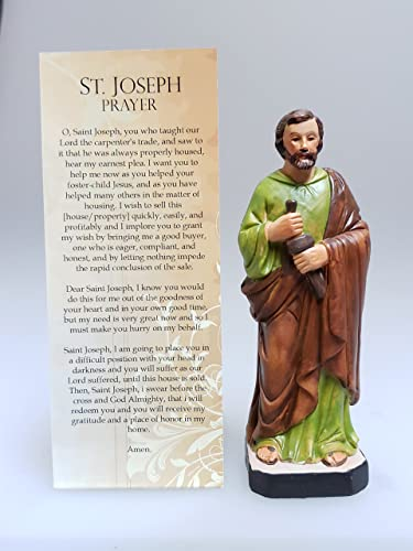 Patron Saint St Joseph the Worker 5 Inch Stone Statue with Prayer Card Home Seller Kit