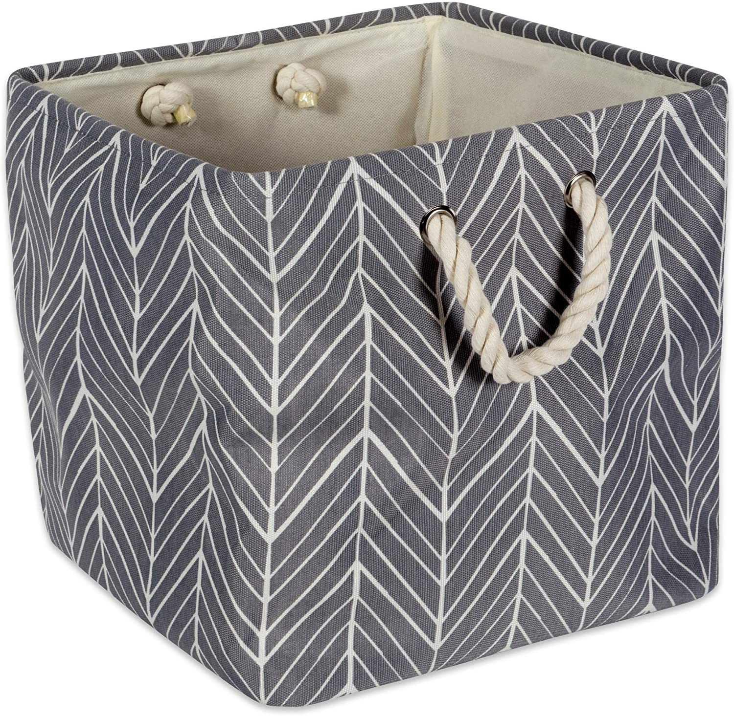 "DII Collapsible Polyester Storage Basket or Bin with Durable Cotton Handles, Home Organizer Solution for Office, Bedroom, Closet, Toys, & Laundry (11x11x11"") - Gray Herringbone"