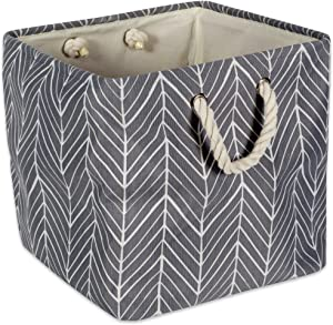 """DII Collapsible Polyester Storage Basket or Bin with Durable Cotton Handles, Home Organizer Solution for Office, Bedroom, Closet, Toys, & Laundry(11x11x11"""") - Gray Herringbone"""