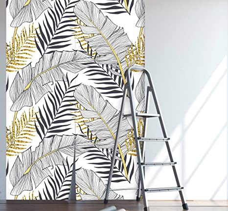 Repositionable MAF128 Peel and stick Vintage Leafs removable wallpaper Removable Reusable Watercolor wall mural Leaf wall decor