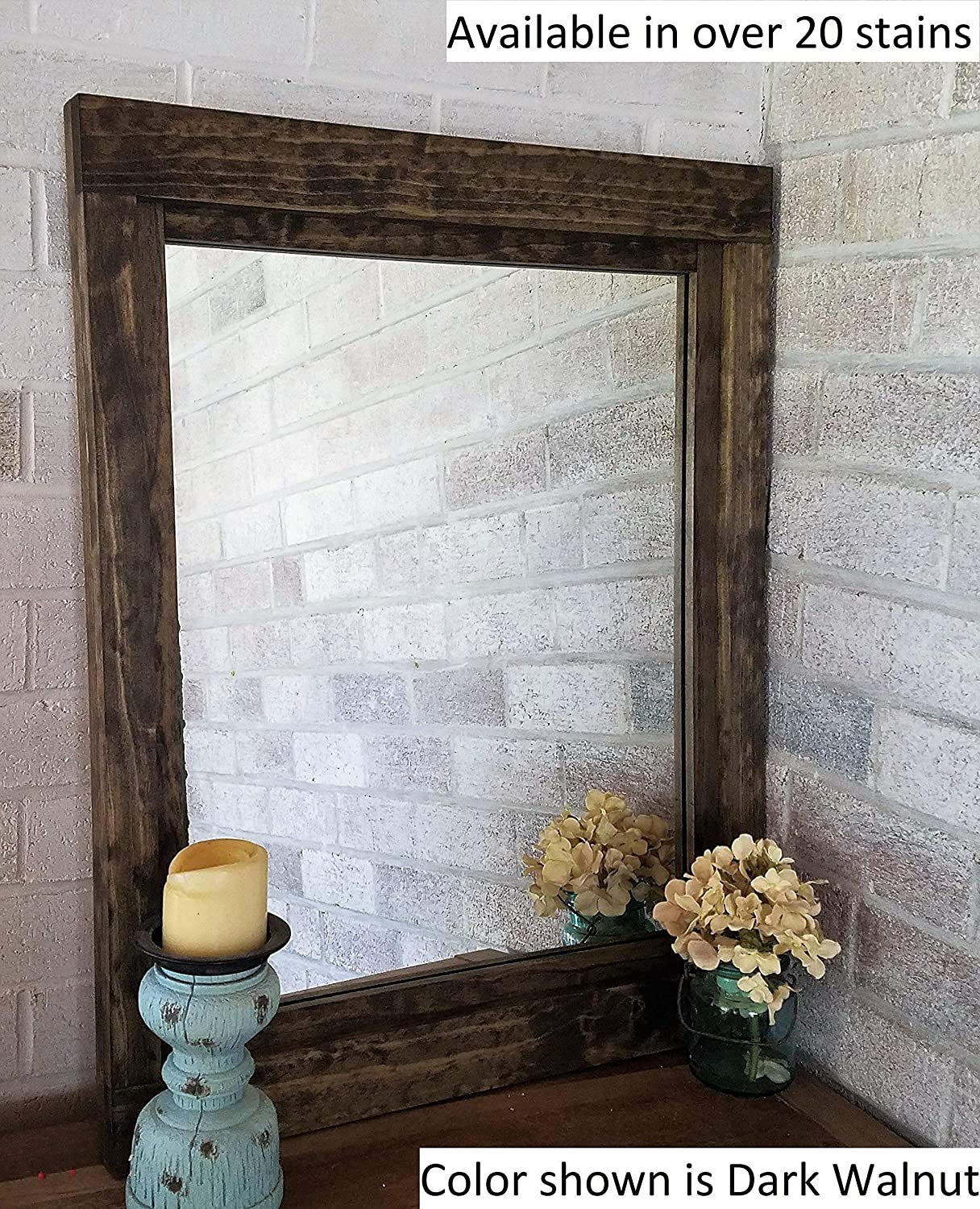 Farmhouse Large Framed Mirror Available in Five Sizes and 20 Stain Colors: Shown in Dark Walnut - Large Wall Mirror – Rustic Style Home Decor - Housewares - Woodwork