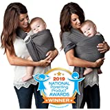 4 in 1 Baby Carrier Wrap and Baby Sling by Kids N' Such | Charcoal Gray Cotton | Use as a Postpartum Belt and Nursing Cover with Free Carrying Pouch | Best Baby Shower Gift for Boys or Girls