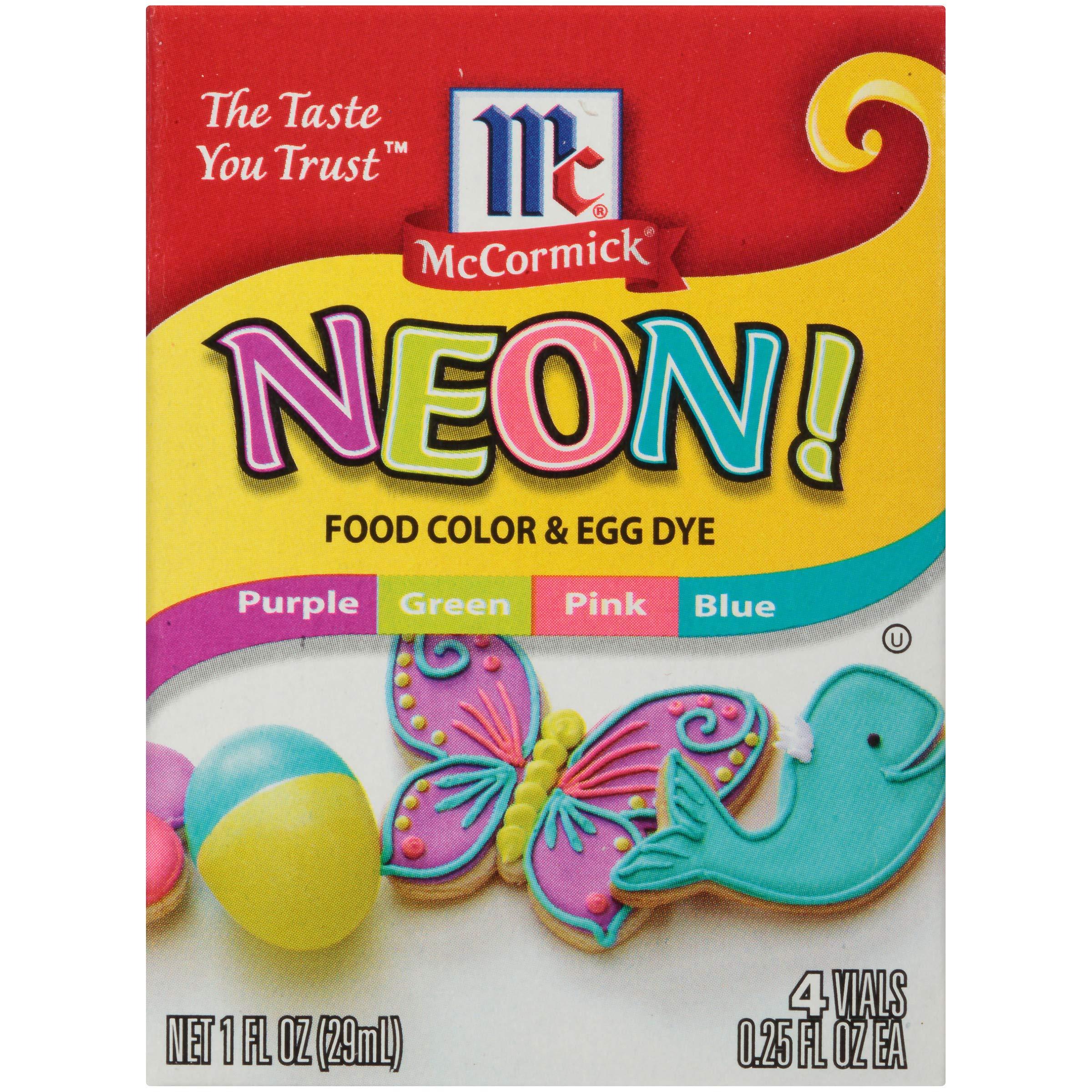 McCormick Neon Assorted Food Color & Egg Dye, 1 fl oz, 4 Count