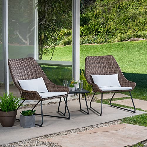 M d Furniture MONTK3PC-WHT Montauk 3 Piece Wicker Scoop Chat Set, White