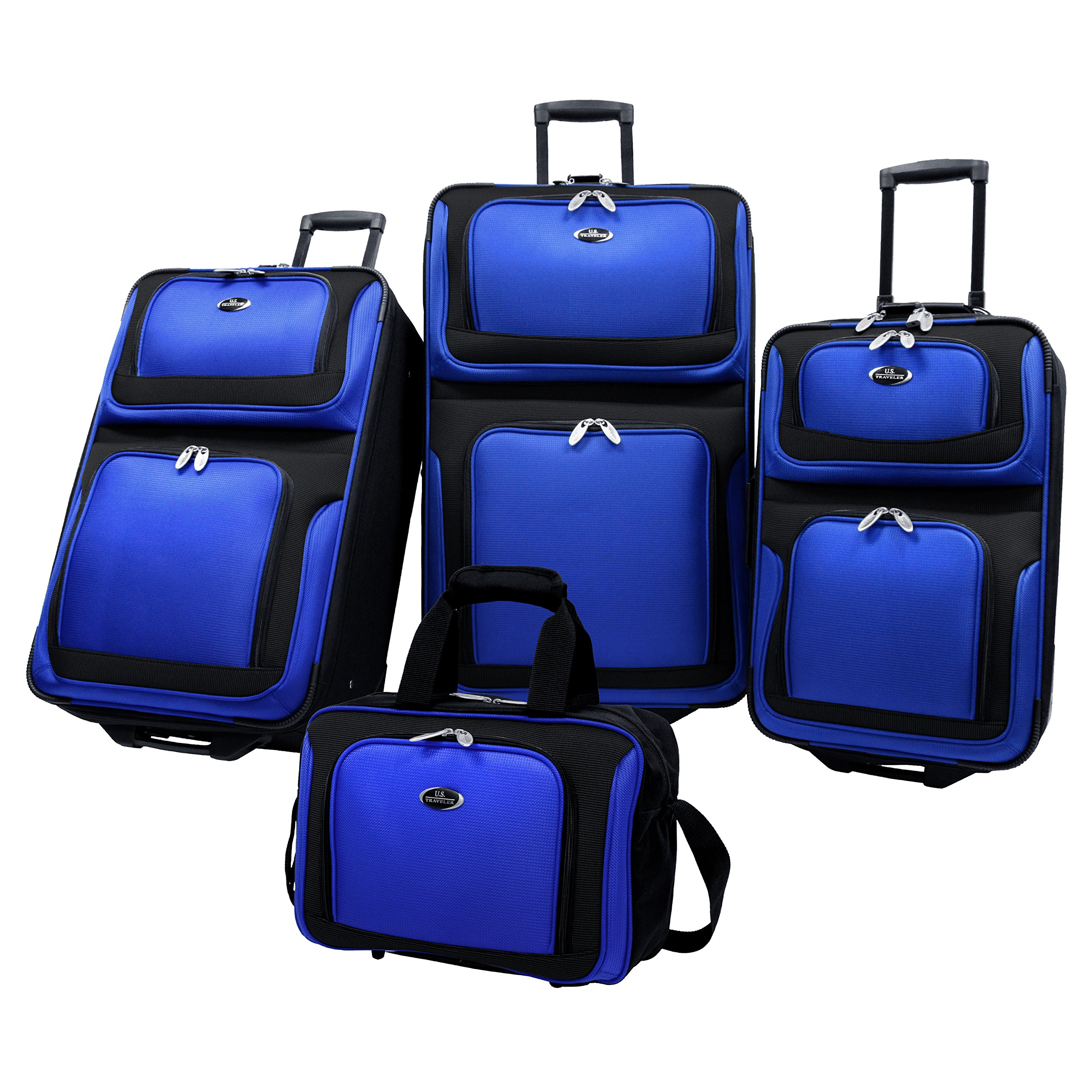 U.S. Traveler New Yorker Lightweight Expandable Rolling Luggage 4-Piece Suitcase Set, Royal Blue by U.S. Traveler