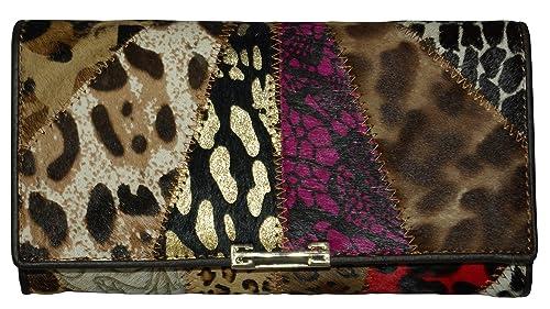 Monedero Cartera Billetera Piel Vaca Cuero Estampado Leather Wallet Geldbörse aus Leder Porte-monnaie en Cuir Portafoglio: Amazon.es: Zapatos y complementos