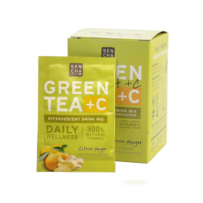 Sencha Naturals, Green Tea +C, Citrus Ginger, Box of 10 Packets | Effervescent Drink Powder Mix with Organic Matcha Green Tea, Antioxidant Vitamin C, Orange Peel, Turmeric, Ginger, Acerola Cherry.