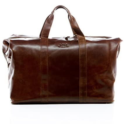 08aa7ad546 SID   VAIN real leather travel bag holdall CHESTER XL weekender duffel bag  72l overnight duffle bag leather bag men´s bag brown  Amazon.co.uk  Luggage