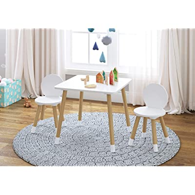 UTEX 2-in-1 Kids Table with 2 Chairs Set, White: Kitchen & Dining [5Bkhe1901978]