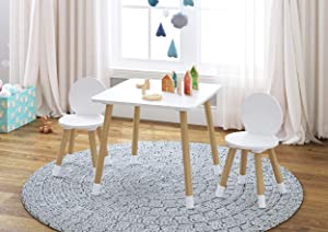UTEX 2-in-1 Kids Table with 2 Chairs Set, White