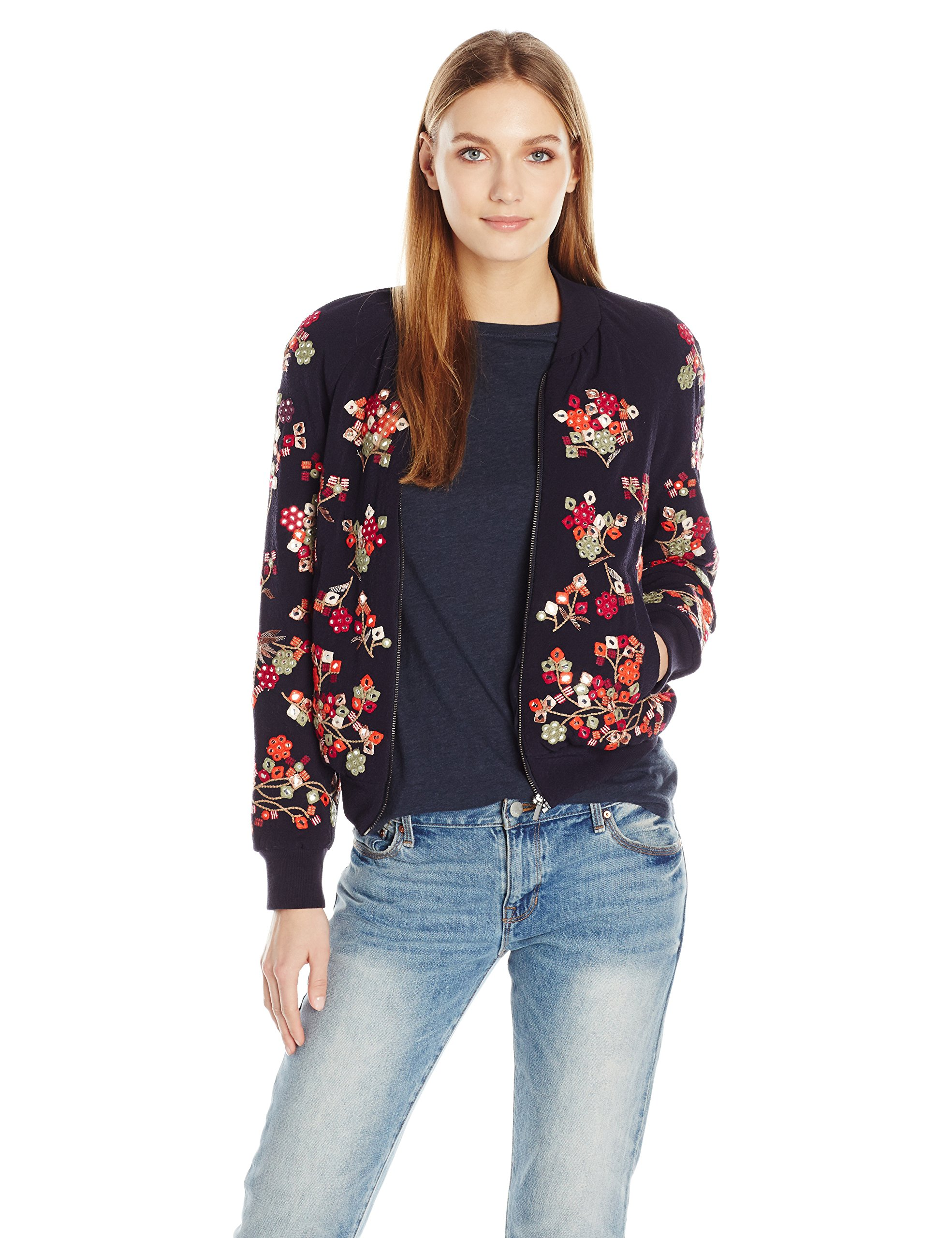 French Connection Women's Gilliam Stitch Bomber Jacket, Utility Blue Miulti, 10 by French Connection (Image #1)