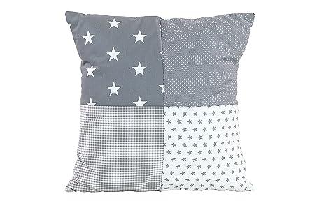 Funda patchwork para cojín de ULLENBOOM ® con estrellas grises (funda para cojín de 40 x 40 cm; 100% algodón; ideal como cojín decorativo para la ...
