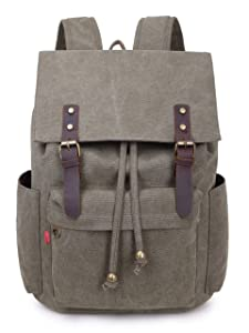 Crest Design Vintage Canvas 16 inch Laptop Backpack School Bag Hiking Travel Rucksack 25L (Army Green)