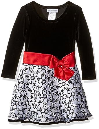 c8d5625cc82b95 Bonnie Jean Mädchen Party Dress Samt langarm Kleid mit Tüll Tutu Peticoat  Rock Schwarz Weiß Silber