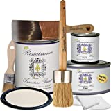 "Renaissance Chalk Furniture Paint Deluxe Starter Kit - 32oz Paint/8oz Clear Wax/4oz Dark Wax/2"" Paint Brush/1.5"" Wax Brush/1"" Detail Wax Brush! - Ivory Tower (DSK)"
