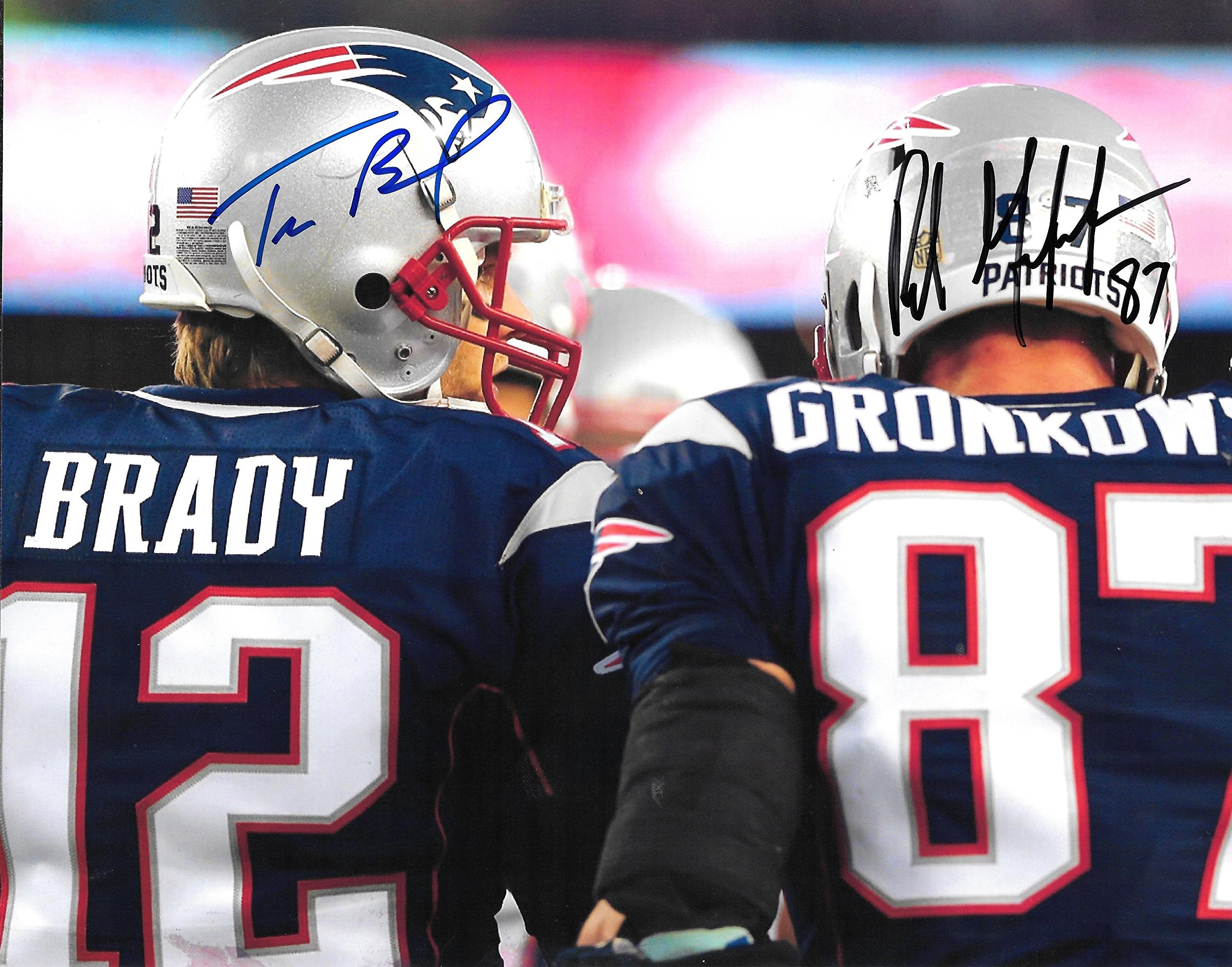Tom Brady & Rob Gronkowski Patriots Autographed Signed 8x10 Photo COA Mint Condition