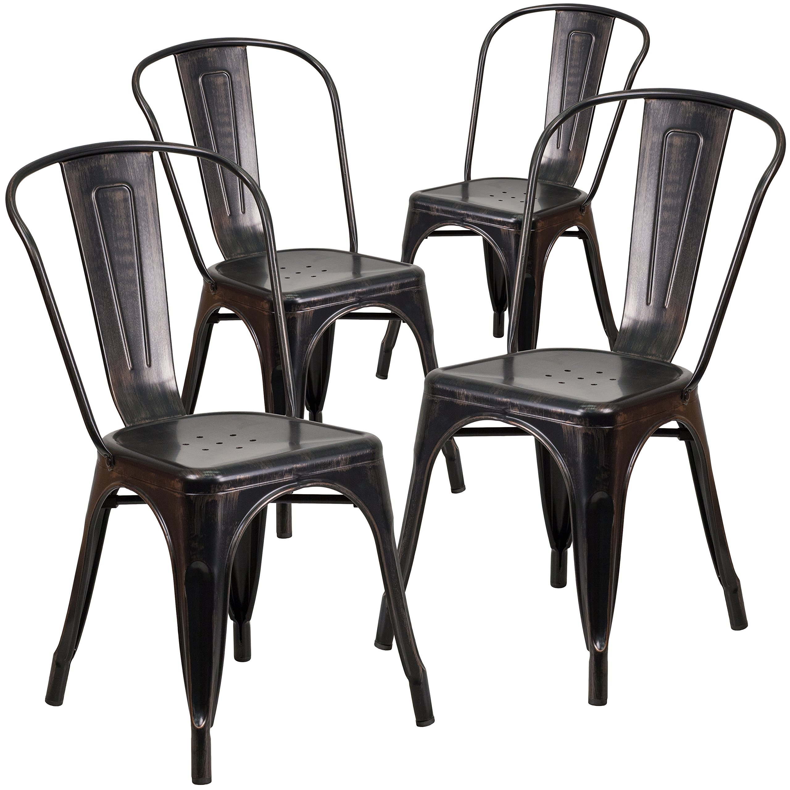Flash Furniture 4 Pk. Black-Antique Gold Metal Indoor-Outdoor Stackable Chair by Flash Furniture