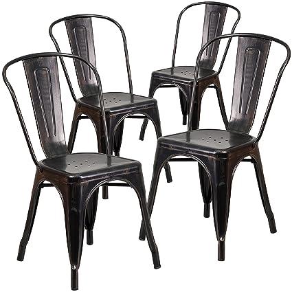Flash Furniture 4 Pk. Black Antique Gold Metal Indoor Outdoor Stackable  Chair