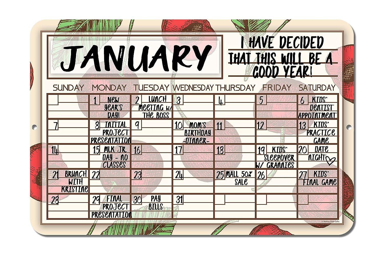 Cherry Decorative Wall Calendar Planning Board Reusable Easy Clean