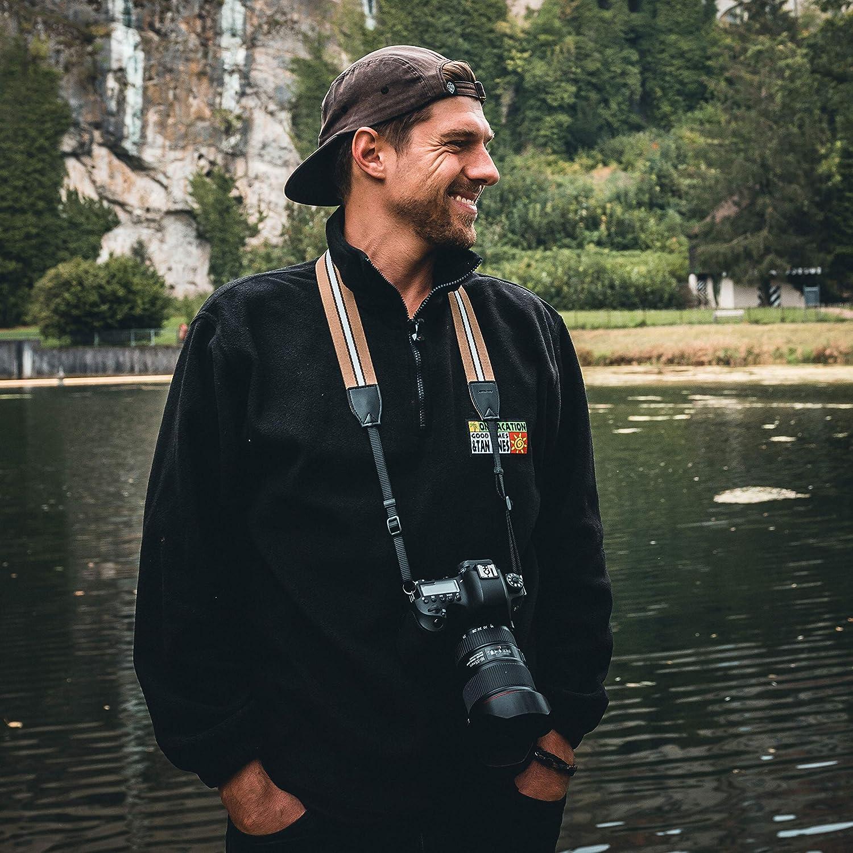 BZW Lens-Aid Premium Kameragurt in schickem Design Schultergurt gestreift f/ür Kameras in feinster Qualit/ät Leinen Nacken BGW