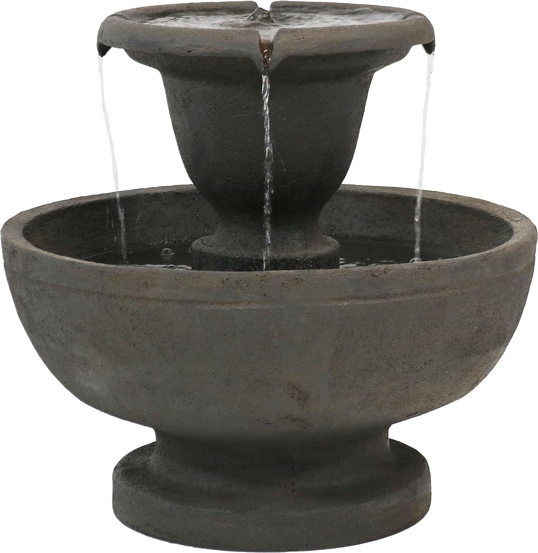 Sunnydaze Streaming Falls Outdoor Water Fountain - 2-Tier Waterfall Fountain & Backyard Water Feature - 25 Inch Tall