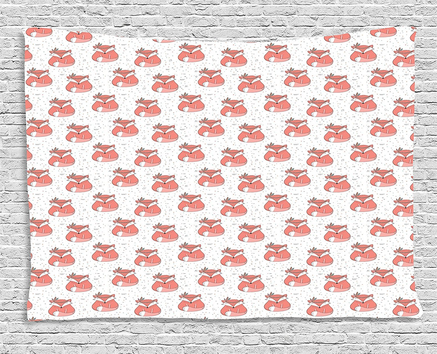 Fox Tapestry, Ethnic Inspirations in Hand Drawn Forest Animal Pattern with Dotted Background, Wall Hanging for Bedroom Living Room Dorm, 80 W X 60 L Inches, Coral Seafoam Black
