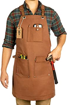 Waxed Canvas Heavy Duty Work Apron With Pockets Deluxe Edition With Quick Release Buckle Adjustable Up To Xxl For Men And Women Texas Canvas Wares Brown Deluxe Edition Amazon Com