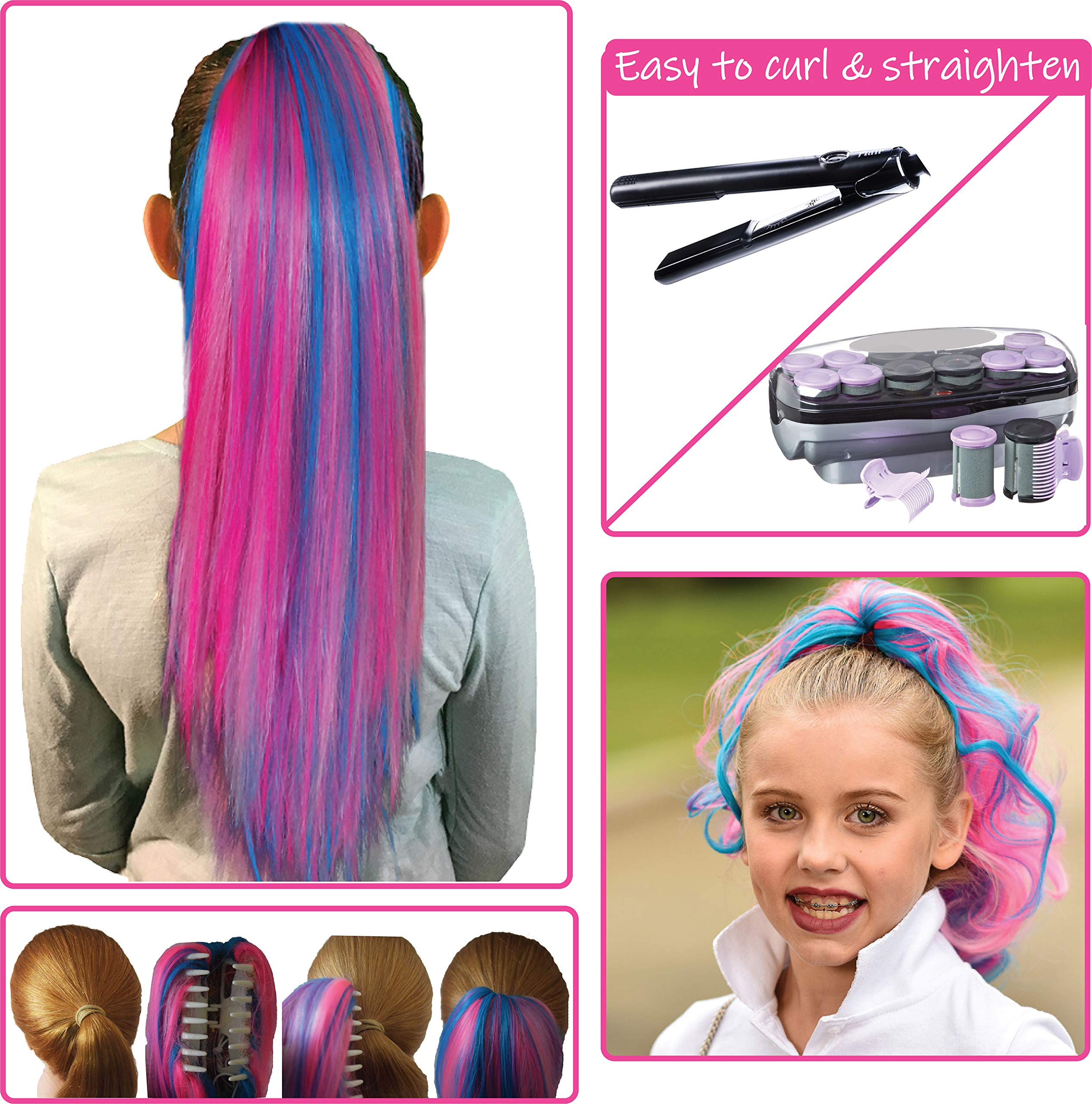 Pink Color Hair Extensions for Kids - Temporary & Not Messy like Hair Chalk - Great Birthday Gift for Kids 4-12, Girls & Teens (18''-20'' Ponytail, Cotton Candy) by My Hair Popz