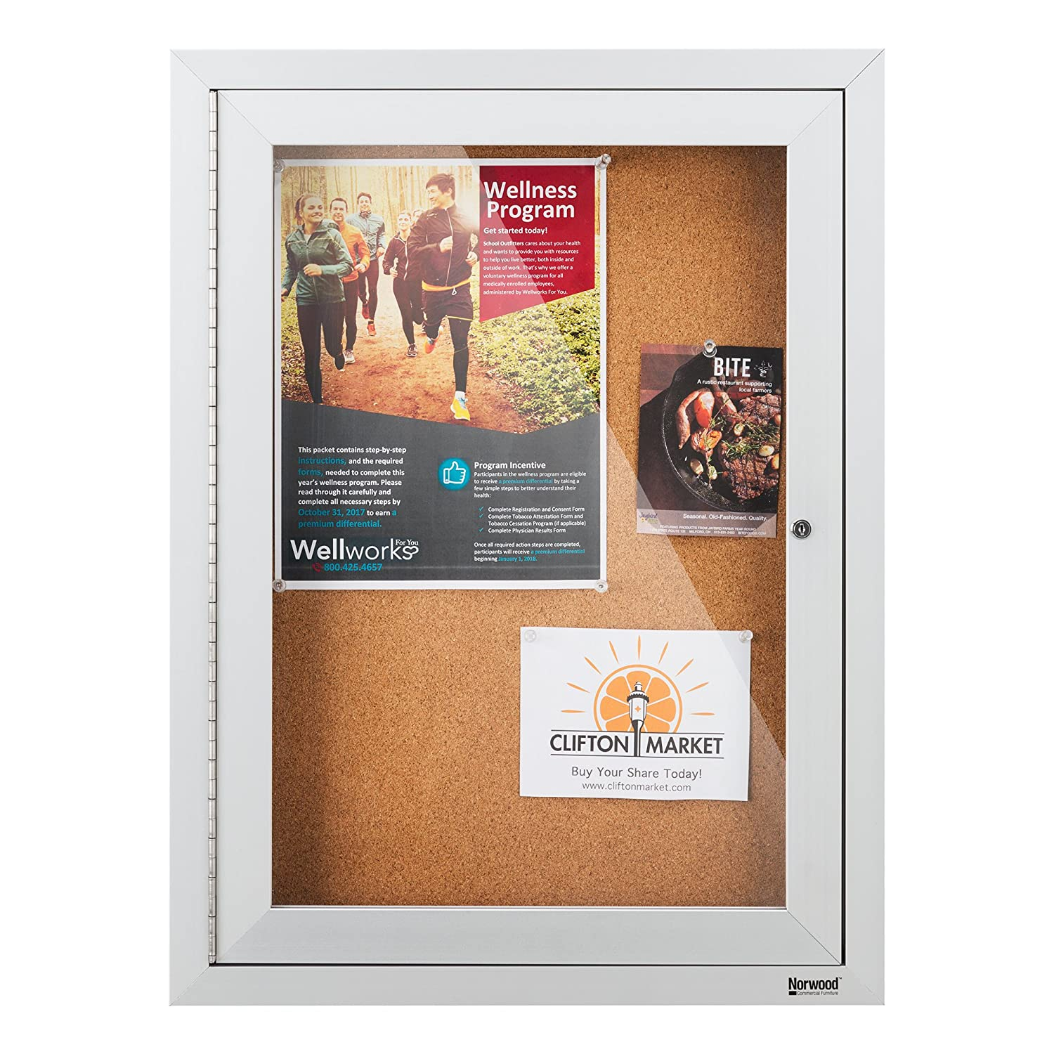 "Norwood Commercial Furniture NOR-ATA-1000-SO Outdoor/Indoor Enclosed Cork, Bulletin Board with One Door, 18"" W x 24"" H, Silver/Brown"