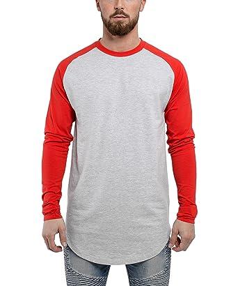 64f3a93ea803 Blackskies Baseball Long Sleeve Men's T-Shirt | Curved Oversized Fashion Longline  Basic Raglan L/S Long Tee - S M L XL