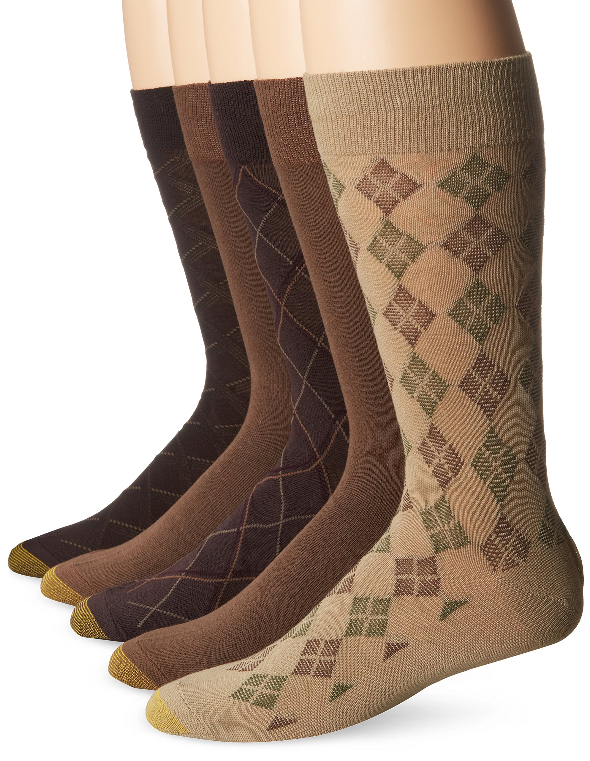 Gold Toe Men's 5 Pack Diagonal Plaid Fashion, Brown/Mocha/Cork, 10-13/6-12 by Gold Toe